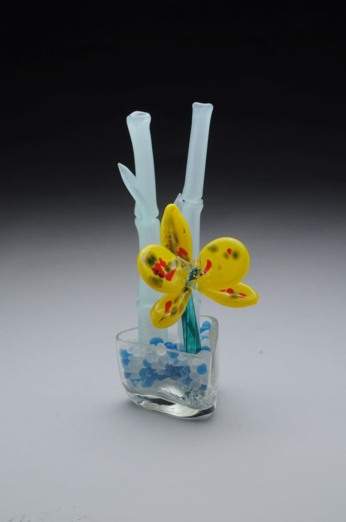 "David Bridwell	""Bamboo Planter"" Glass"