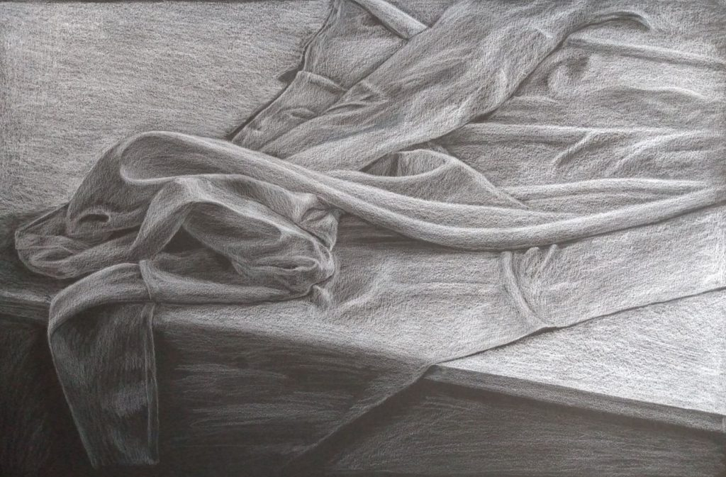 "Karla McMillan, ""A Study of Fabric"", White Pencil on Paper"