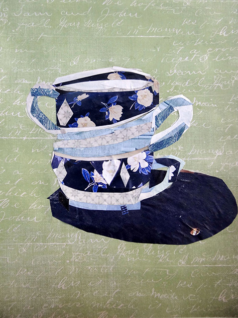 "Nancy Milford, ""Tea Cups"", Mixed Media"