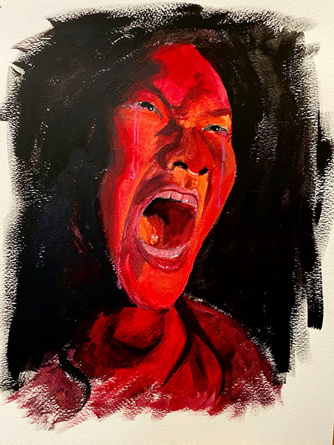 "Mikayla  Ott, ""Rage"", Acrylic on Watercolor Paper"