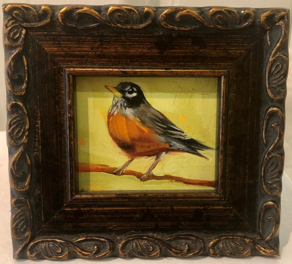 """Robin (Fat)"" by Cat Pope, Oil"