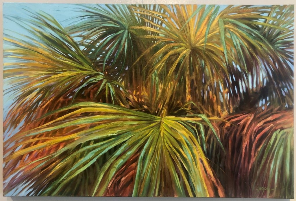 """Technicolor Palm"" by Cat Pope, Oil"