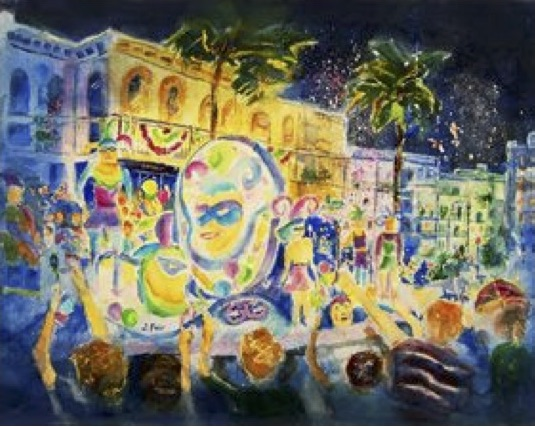 Mardi Gras Parade at Night, Jerry Fair, Watercolor Paper, $650