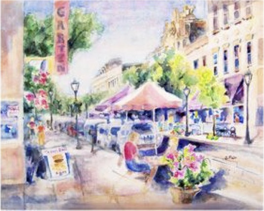 Burger on Dauphin Street, Jerry Fair, Watercolor Canvas, $650