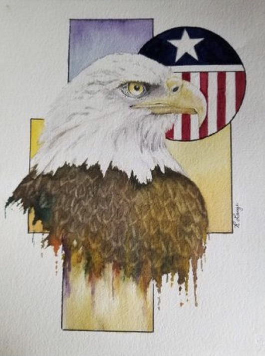The Eagle Has Landed, Ruby Lange, Watercolor, NFS