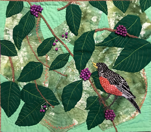 Robin in the Beauty Berry, Anne Rose, Textile Sculpture on hung support, NFS
