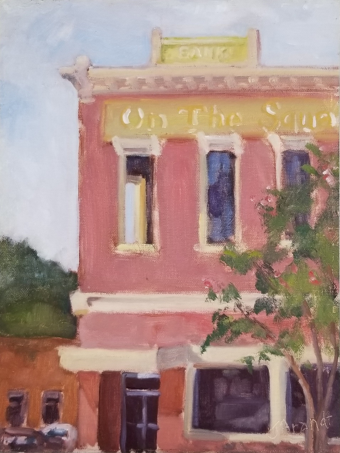 On the Square Monroeville, AL (Plein Air), Joanne Brandt, Oil on linen, $350
