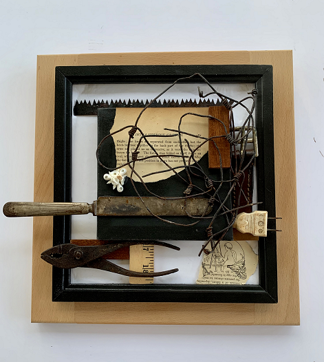 Beyond Fecundation, Stephanie Bromley, Found Object Assemblage on Wood, $333