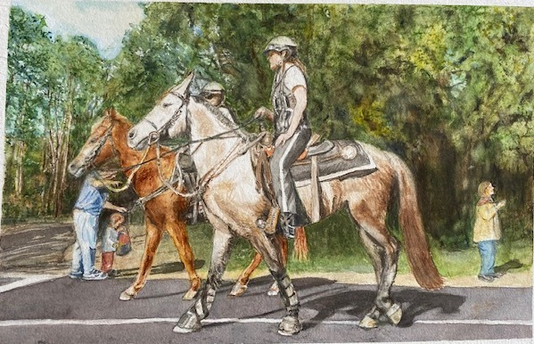Parade Guards, Nancy Hora, Watercolor on paper, NFS