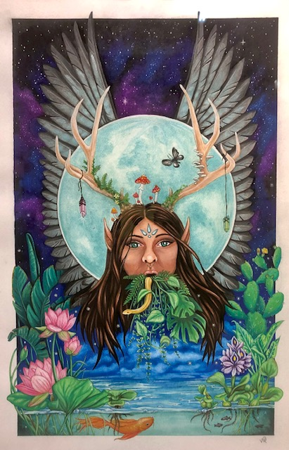 Gaia, Vanessa Quintana, Watercolor, Ink on Paper, $650