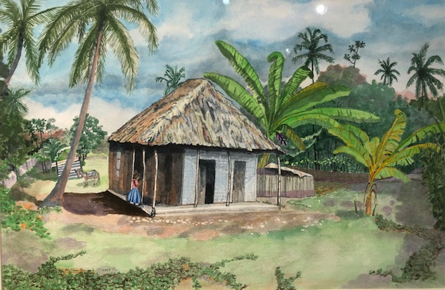 Farmhouse near Leogane, Haiti, Philippe Oszuscik, Watercolor on Paper, $400
