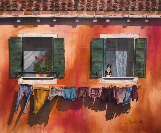 Lazy Day in Venice, Barbara Rettig, Watercolor on Paper, $700