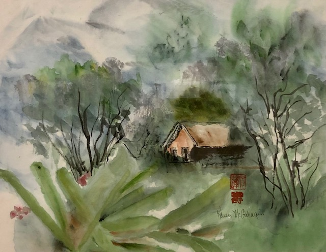 Foothills, Karen D. McGahagin, Watercolor, Ink on Rice Paper, $325