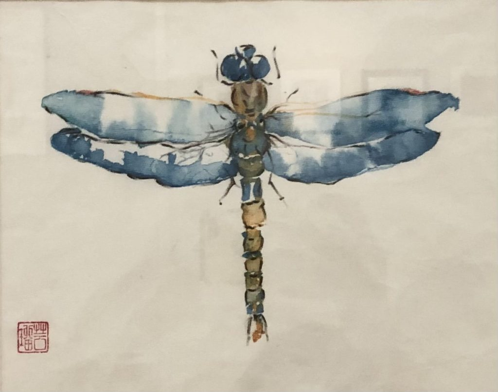Blue Damsel, Gail Bramer, Watercolor, Ink on Rice Paper, $200