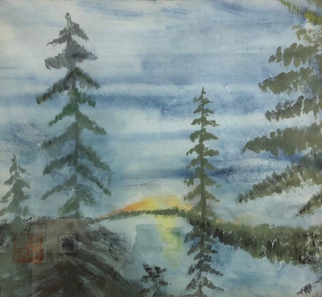 Poplar Lake Sunset, Mary Rodning, Watercolor on Rice Paper, $300
