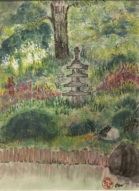 In the Garden, Carol Wiggins, Watercolor, Ink on Paper, $150