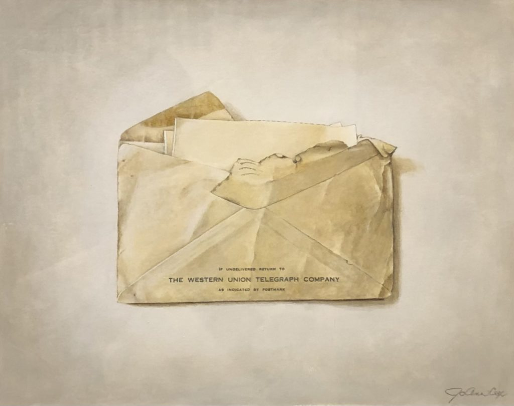 Birth Telegram, JoAnn Cox, Acrylic on Paper, $1,100