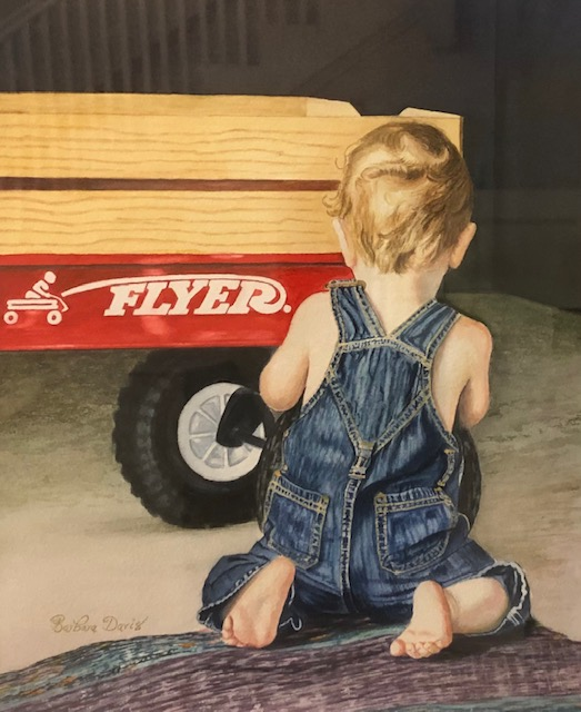 Daddy's Best Helper, Barbara Davis, Watercolor on Paper, NFS