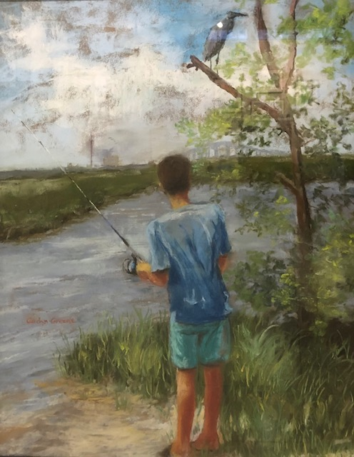 Fishing and Waiting, Dauphin Island, Carolyn Greene, Pastel on Pastel Board, $525