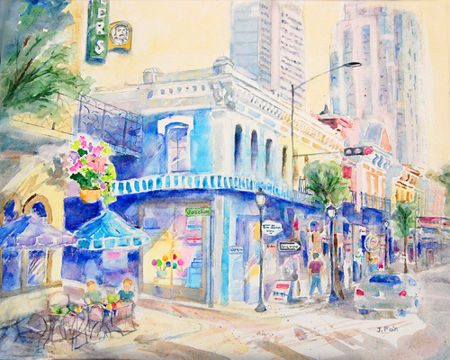 Strolling the Old and the New, Jerry Fair, Watercolor on canvas, $850
