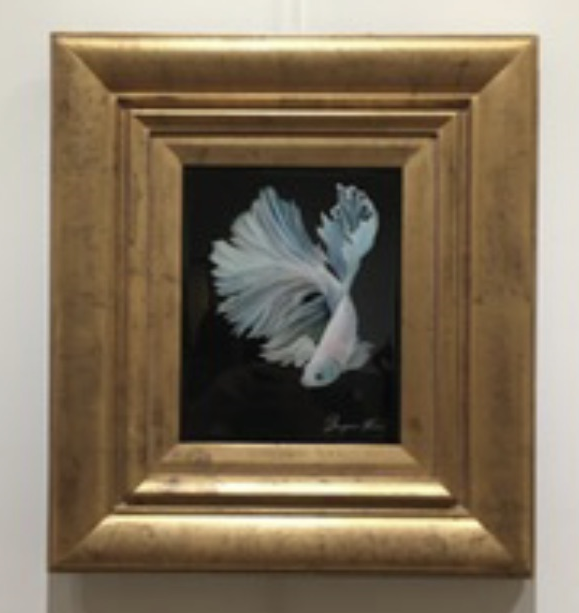 Yang: White Betta, Benjamin Kiser, Oil on wood, $485
