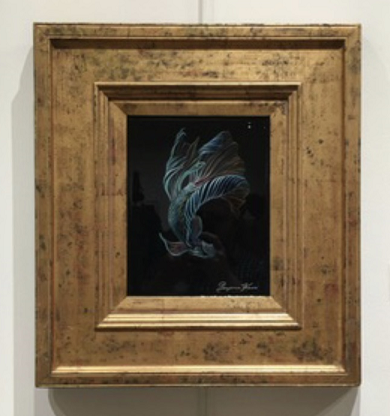 Yin: Black Betta, Benjamin Kiser, Oil on wood, $485