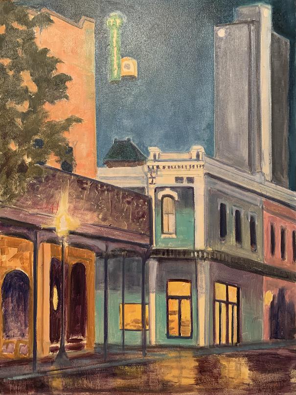 Dauphin Street Nocturne, Tamara Jordan Lindsay, Oil on board, $950
