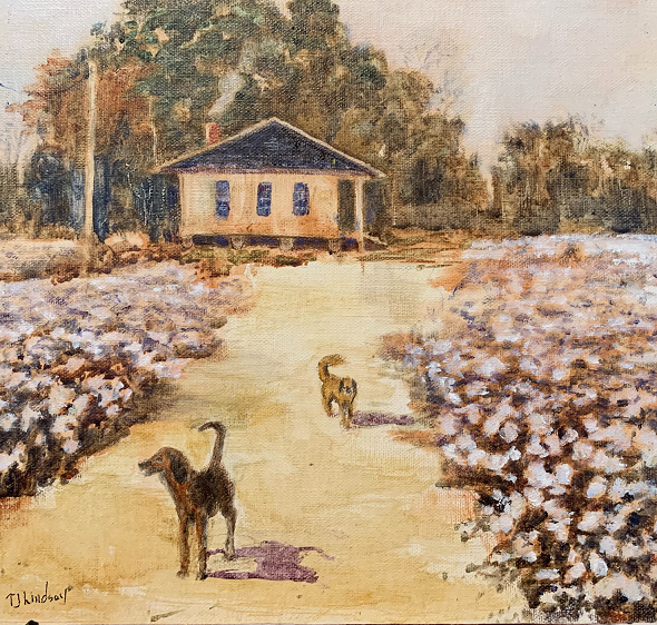 Guarding the Cotton, Tamara Jordan Lindsay, Oil on linen board, $250
