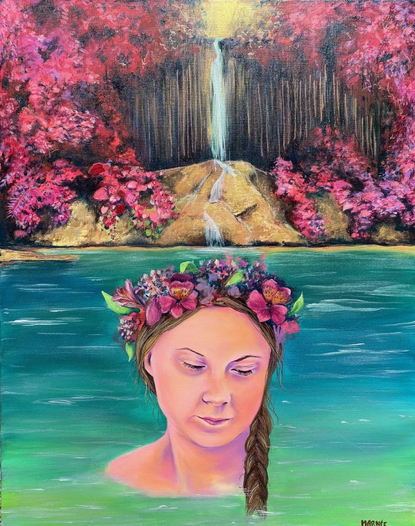 Greta Falls, Marnée Wiley, Acrylic on stretched canvas, $252