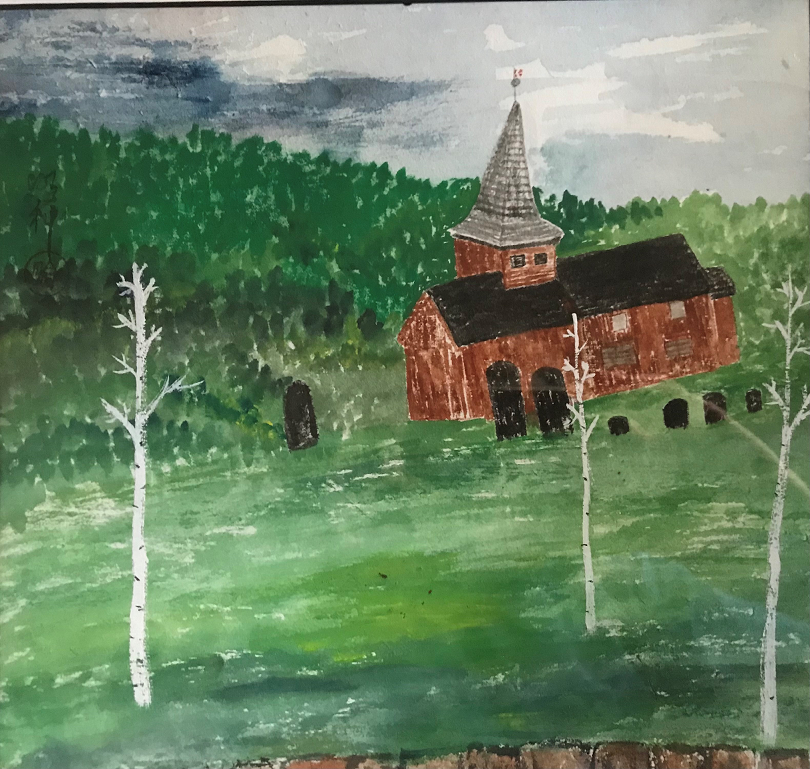 Stave Kirke, Hol, Norway, Mary Rodning, Watercolor, ink on rice paper, $300