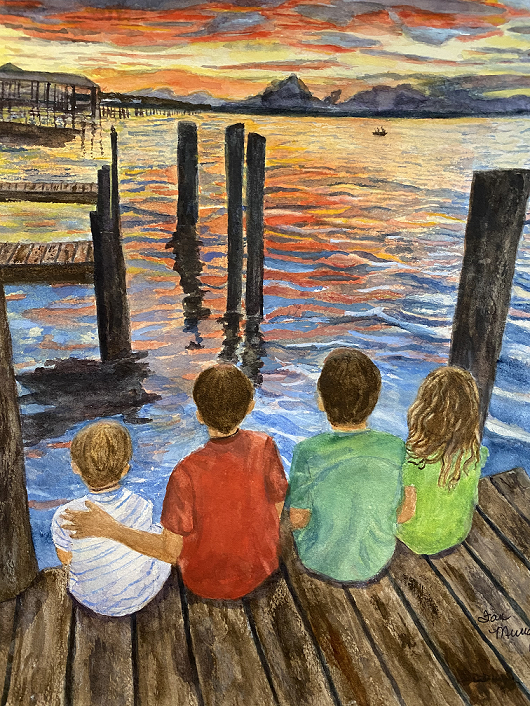 Pier at Sunset, Fran Murray, Watercolor, $995