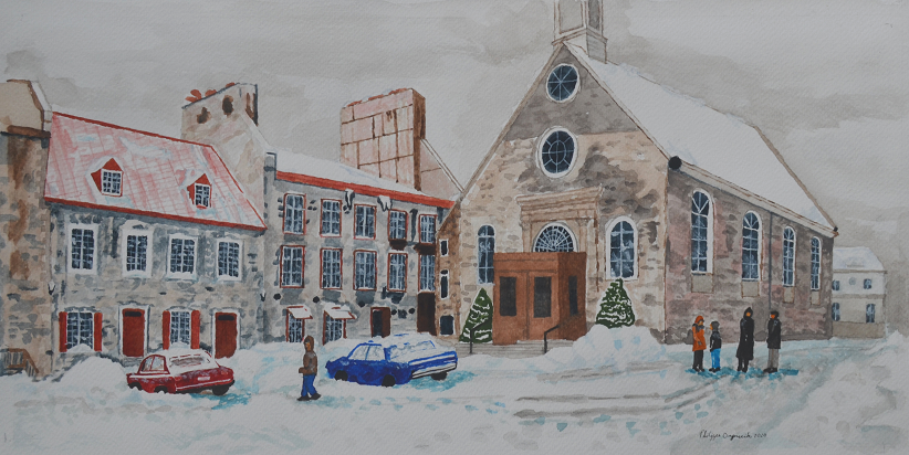 Winter: Church Square in Quebec ,Philippe Oszuscik, Watercolor, $350