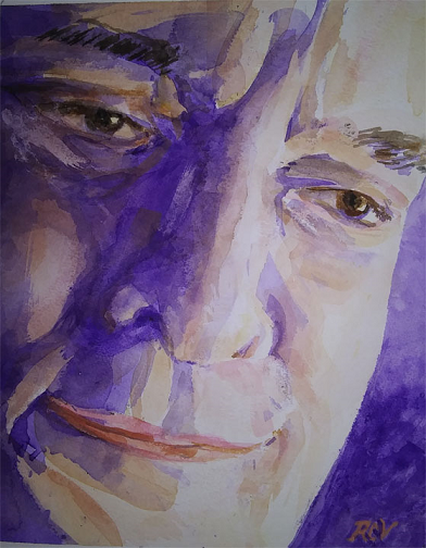 Self Portrait, Rudolph C. Villarreal, Watercolor, NFS