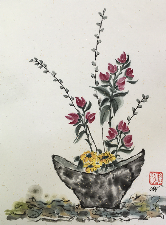 A Lovely Gift, Carol Wiggins, Ink & watercolor on rice paper, $150