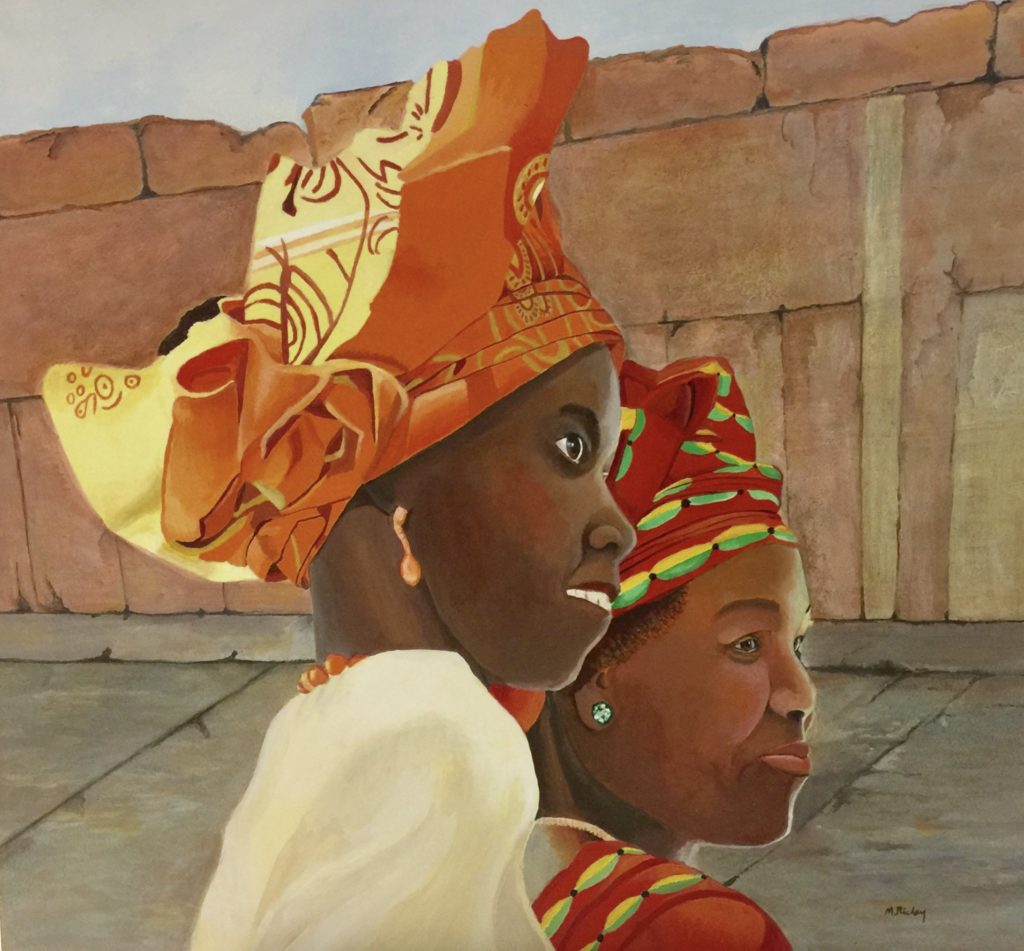 African Headdress, Margaret Richey, Acrylic on Watercolor Board, $1500
