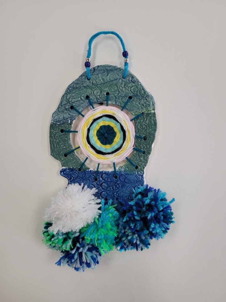 The Blue Mixture, Addison Thomas, St. Paul's Episcopal, Mixed Media, Ceramic and Yarn