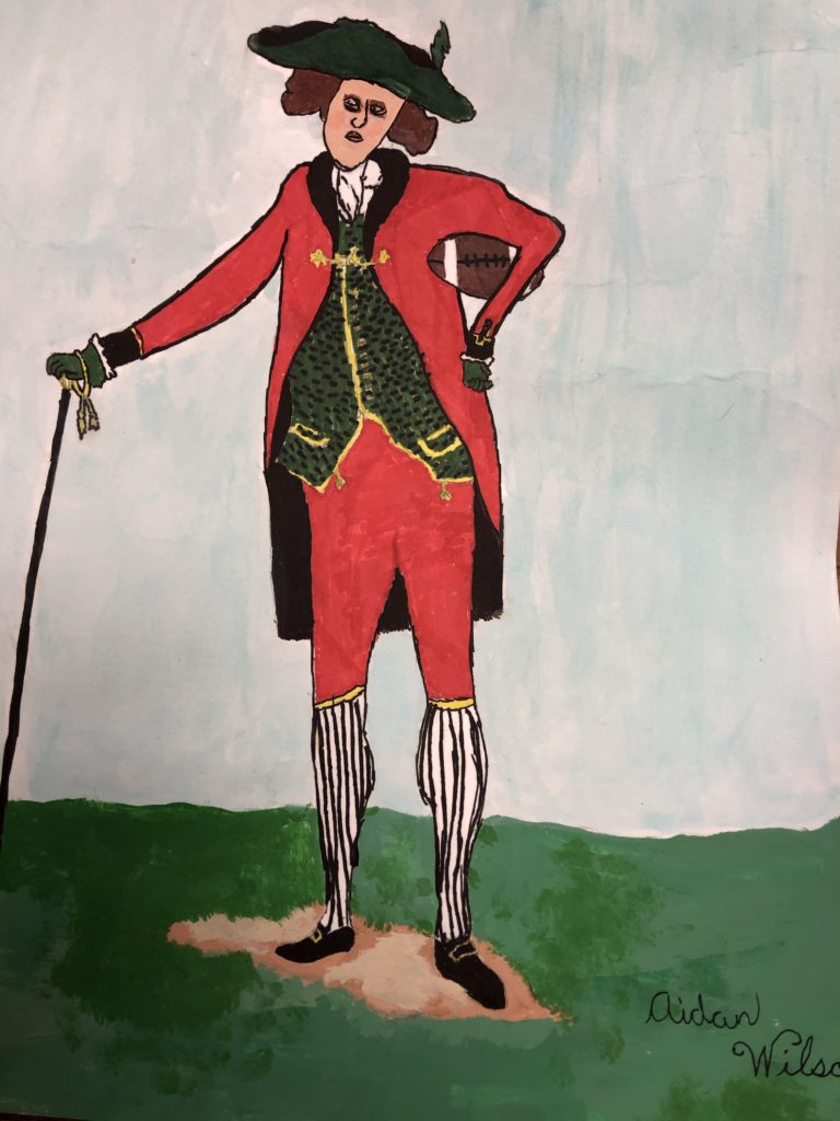 The Gentleman of Sport, Aidan Wilson, 7th Grade, Bay Minette Middle School, Mixed Media, Graphite, Marker, and Watercolor