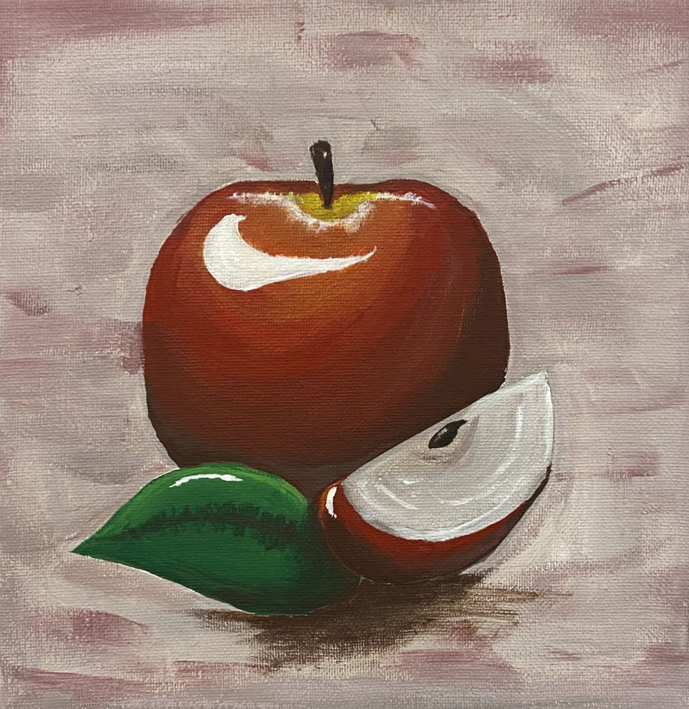 Apple Study, Autumn Dunaway, 11th Grade, Gulf Shores High School, Painting, Acrylic on Canvas