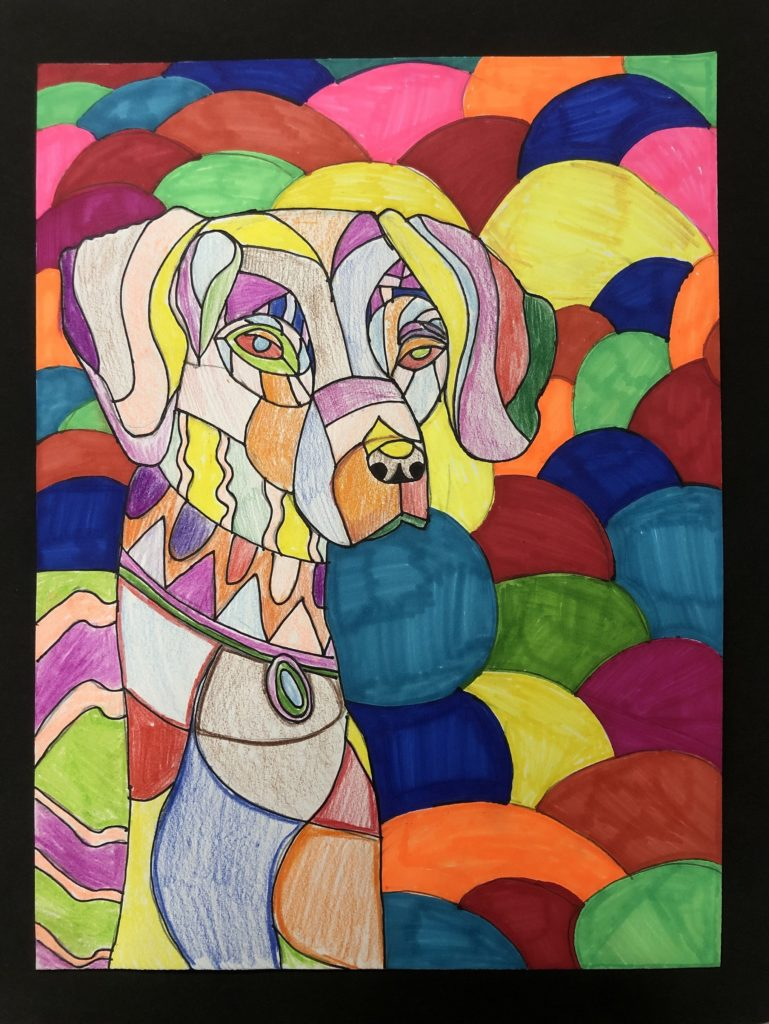 Dapper Dog, Braden Bradley, 6th Grade, Bayside Academy, Drawing, Colored Pencil and Sharpie on Paper
