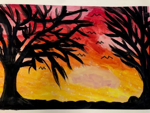 Dusk Approaching, Brenna Pitts, 8th Grade,  Bay Minette Middle School, Painting, Watercolor