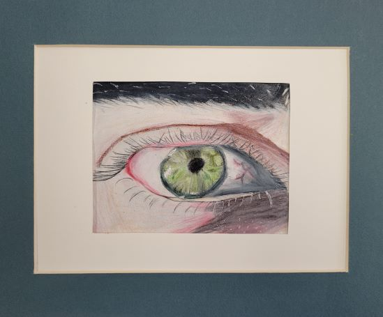 Eye Spy, Charlotte Freeman, 6th Grade, St. Paul's Episcopal School, Drawing, Color Pencil, Graphite, Gelli Pen