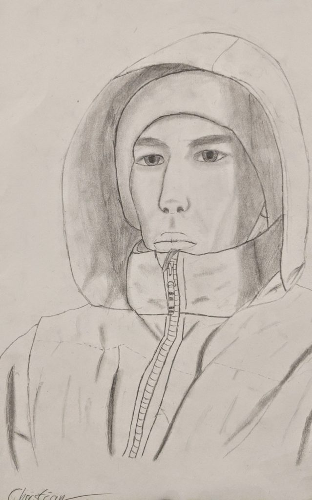 Self Portrait, Christian Sutherlain, 9th Grade, Elberta High School, Drawing, Graphite