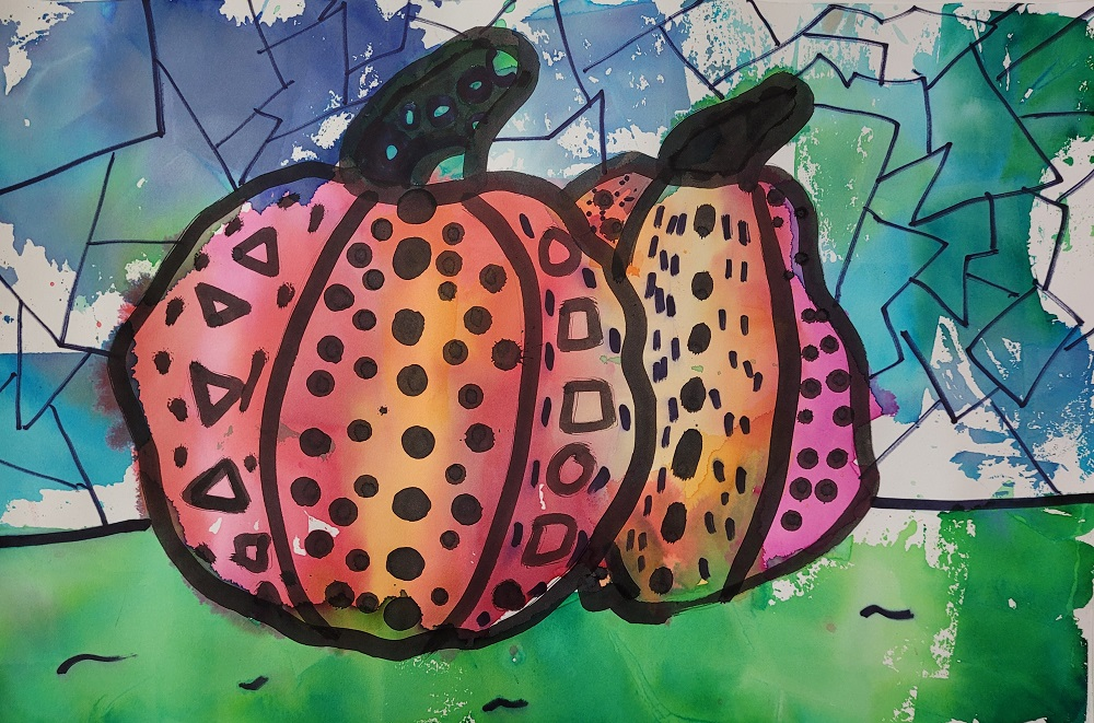 Colorful Pumpkins, Harshitha Hari, India Ink and Bleeding Tissue Paper