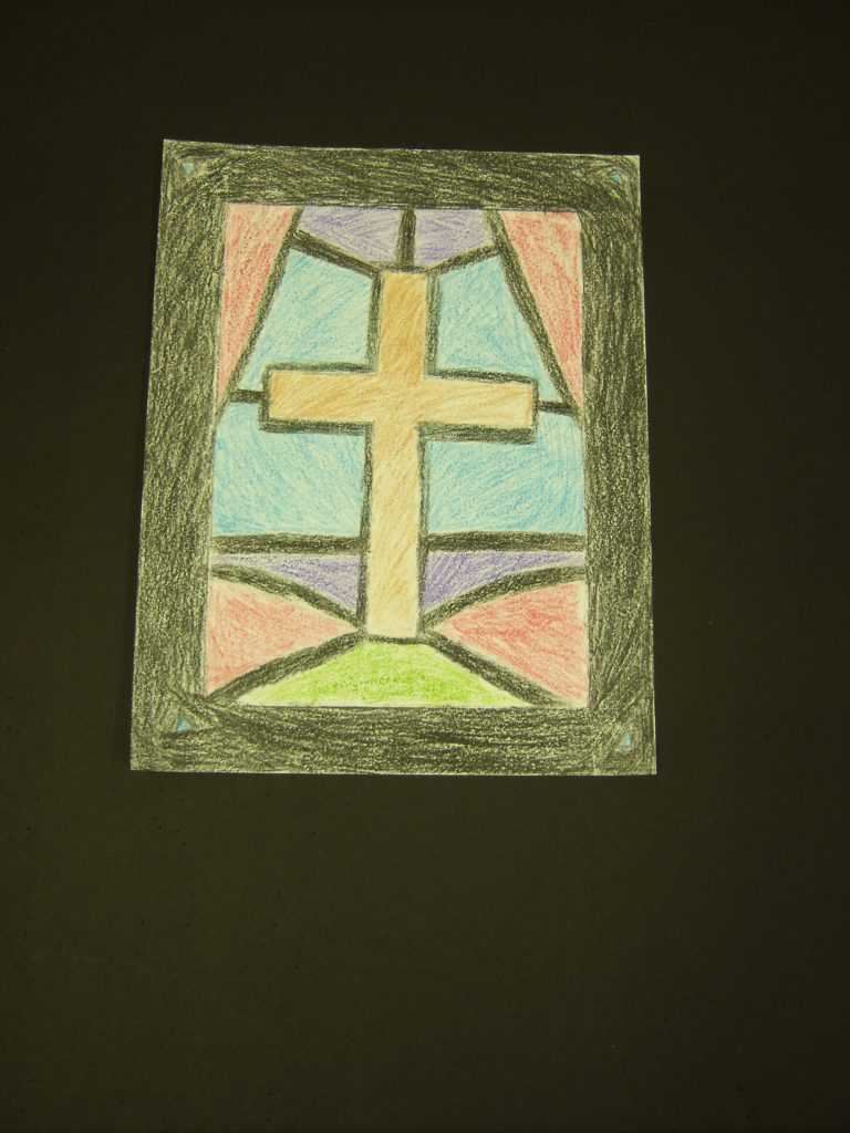 Stained Glass Cross, Crishon Overton, 7th Grade, Cranford Burns Middle School, Drawing, Color Pencils