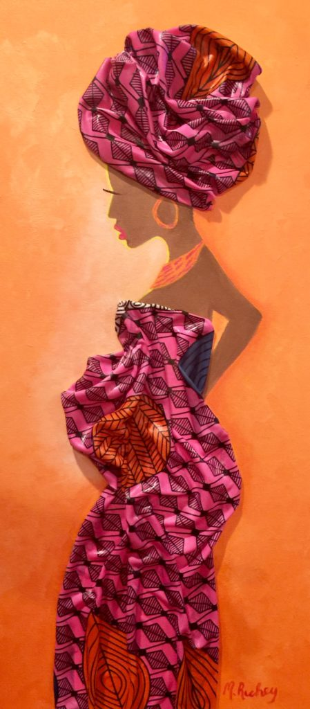 Pregnant Glow, Margaret Richey, Acrylic Paint and African Fabric, NFS