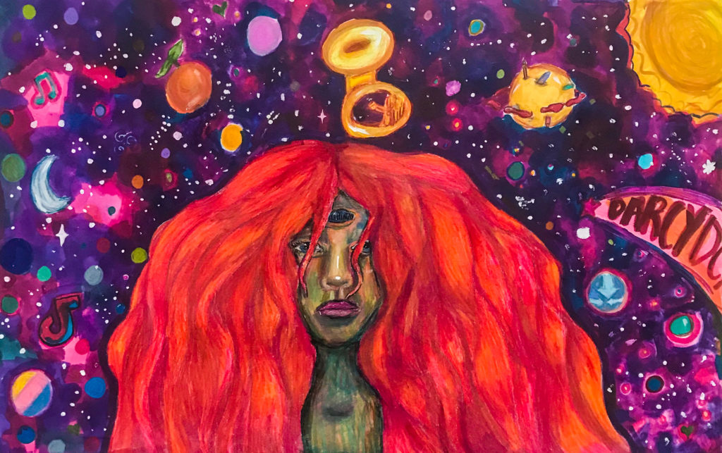 Creativity in the Cosmos, Darcy Doane, 9th Grade, Fairhope High School, Mixed Media, Markers, Colored Pencils, Acrylic Paint on Paper