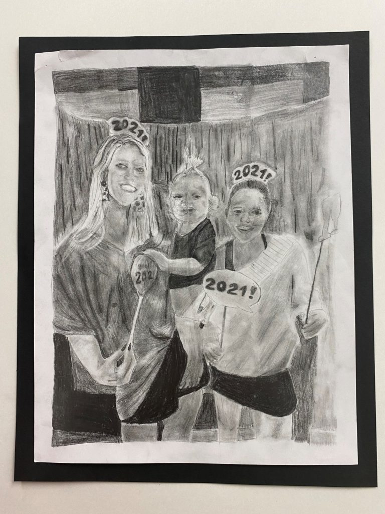 Happy New Year!, Ella Witt, 8th Grade, St. Paul's Episcopal School, Drawing, Graphite Pencils