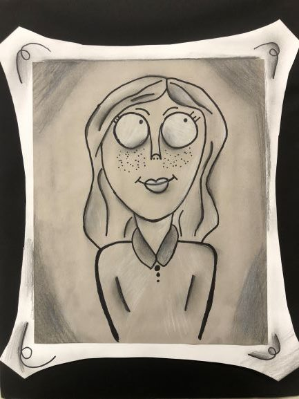 #Selfie, Farrah Lane, 6th Grade, Bayside Academy, Drawing, Charcoal and Sharpie on Paper