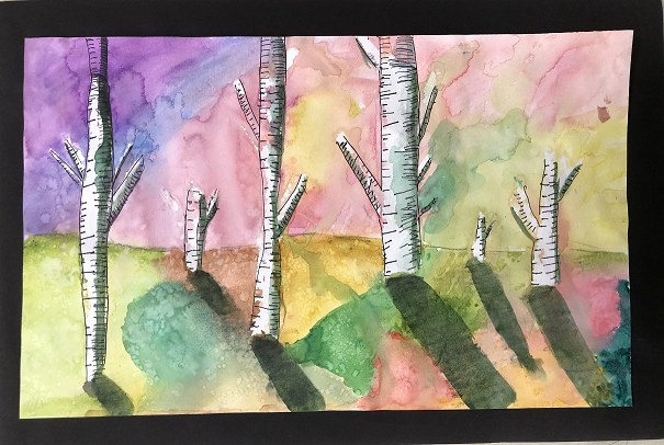 Winter's Shadow, Gracie Thompson, 6th Grade, Bayside Academy, Painting, Watercolor