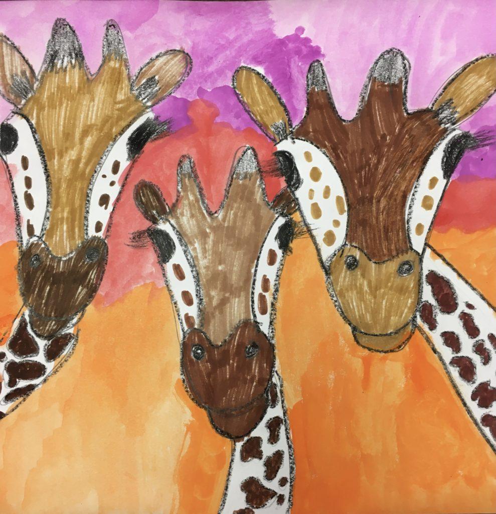 Giraffe Trio,  Violet Blair, Crayon, Marker, + Tempera Paint